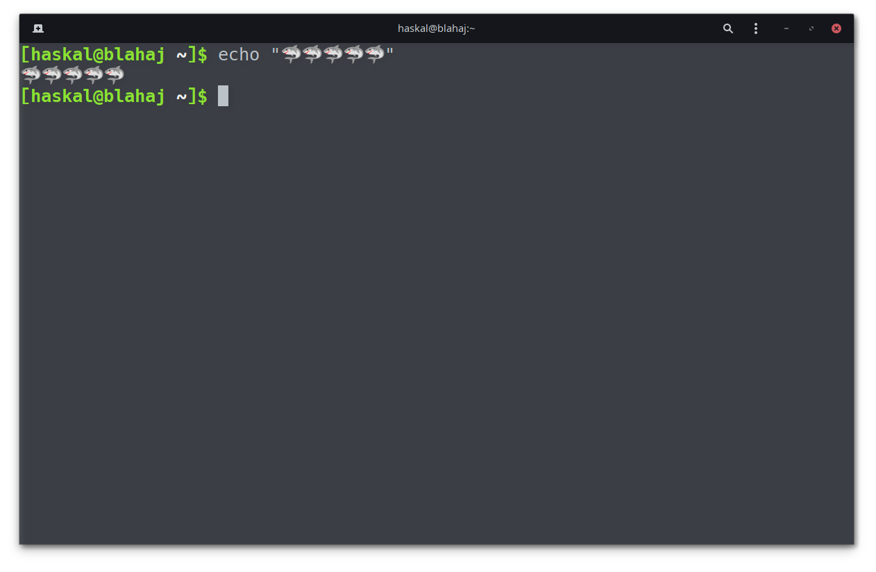 demo of a bunch of shark emoji in GNOME terminal